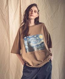 ART×EMMA CLOTHES別注 アート転写プリントビックシルエット半袖カットソーベージュ系その他