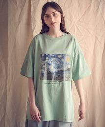 ART×EMMA CLOTHES別注 アート転写プリントビックシルエット半袖カットソーグリーン系その他