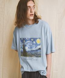 ART×EMMA CLOTHES別注 アート転写プリントビックシルエット半袖カットソー グラフィック カットソーブルー系その他