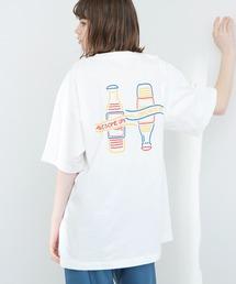 ART×EMMA CLOTHES別注 アート転写プリントビックシルエット半袖カットソー バックプリント グラフィック カットソーホワイト系その他4