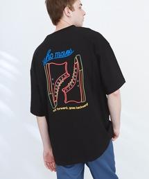 ART×EMMA CLOTHES別注 アート転写プリントビックシルエット半袖カットソー バックプリント グラフィック カットソーブラック系その他5