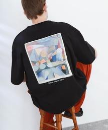 ART×EMMA CLOTHES別注 アート転写プリントビックシルエット半袖カットソー バックプリント グラフィック カットソーブラック系その他7