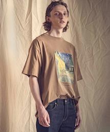 ART×EMMA CLOTHES別注 アート転写プリントビックシルエット半袖カットソーベージュ系その他3