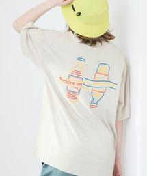 ART×EMMA CLOTHES別注 アート転写プリントビックシルエット半袖カットソー バックプリント グラフィック カットソーベージュ系その他4