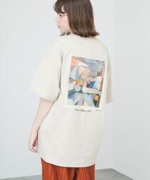 ART×EMMA CLOTHES別注 アート転写プリントビックシルエット半袖カットソー バックプリント グラフィック カットソーベージュ系その他7
