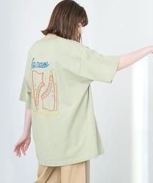 ART×EMMA CLOTHES別注 アート転写プリントビックシルエット半袖カットソー バックプリント グラフィック カットソーグリーン系その他5
