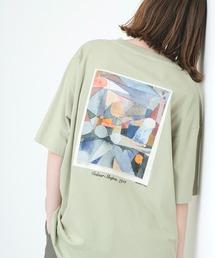 ART×EMMA CLOTHES別注 アート転写プリントビックシルエット半袖カットソー バックプリント グラフィック カットソーグリーン系その他7