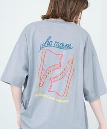ART×EMMA CLOTHES別注 アート転写プリントビックシルエット半袖カットソー バックプリント グラフィック カットソーブルー系その他5