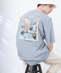 ART×EMMA CLOTHES別注 アート転写プリントビックシルエット半袖カットソー バックプリント グラフィック カットソーブルー系その他7