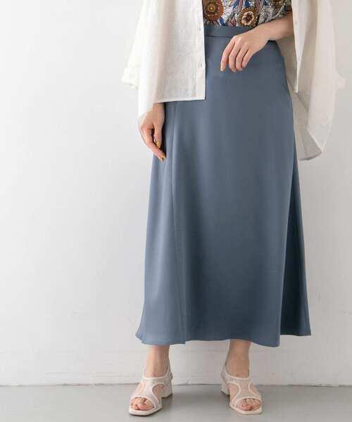KBF(ケイビーエフ)の「サテンAラインスカート(スカート)」|ブルー