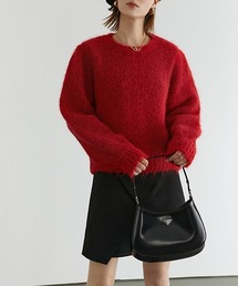 【Fano Studios】【2021AW】Mohair-like pullover crew neck knit FD20S123レッド