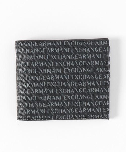 【A|Xアルマーニ エクスチェンジ】オールオーバーロゴ 二つ折り財布
