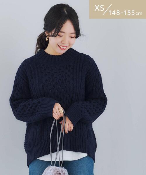 [ XS / H148-155cm ] ★★ SC ケーブル ハイネック プルオーバー ニット