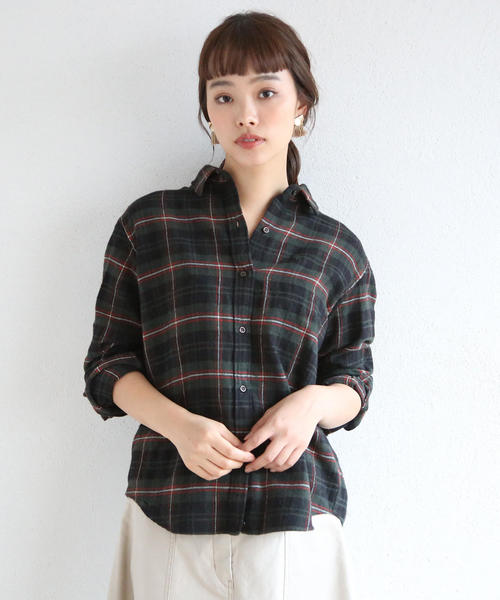 【2WAY】コットンウールリネンチェックシャツチェックシャツ
