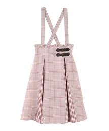 axes femme POETIQUE(アクシーズファムポエティック)の配色チェックサス付スカート(スカート)