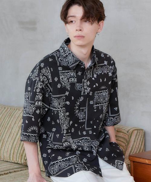 オーバーサイズTRストレッチレギュラーカラーシャツ 半袖 2020