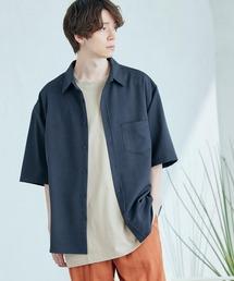 オーバーサイズTRストレッチレギュラーカラーシャツ 半袖ネイビー