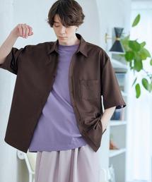 オーバーサイズTRストレッチレギュラーカラーシャツ 半袖ブラウン