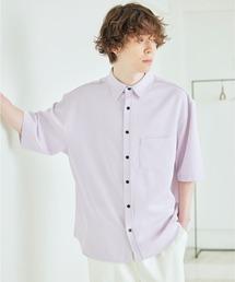 オーバーサイズTRストレッチレギュラーカラーシャツ 半袖ライラック