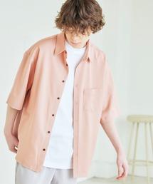 オーバーサイズTRストレッチレギュラーカラーシャツ 半袖スモークピンク