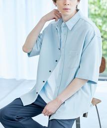 オーバーサイズTRストレッチレギュラーカラーシャツ 半袖サックスブルー