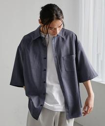 オーバーサイズTRストレッチレギュラーカラーシャツ 半袖インディゴブルー