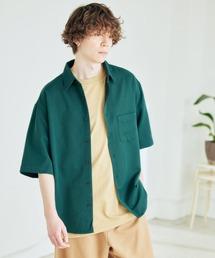 オーバーサイズTRストレッチレギュラーカラーシャツ 半袖グリーン
