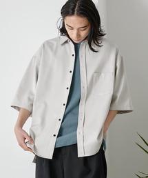 オーバーサイズTRストレッチレギュラーカラーシャツ 半袖ライトグレー