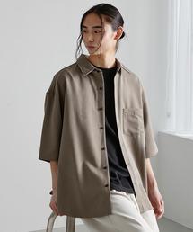 オーバーサイズTRストレッチレギュラーカラーシャツ 半袖ベージュ系その他3