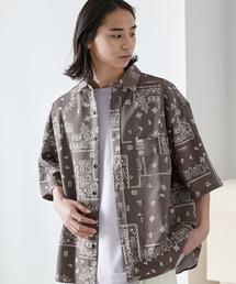 オーバーサイズTRストレッチレギュラーカラーシャツ 半袖ベージュ系その他5