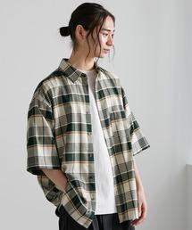 オーバーサイズTRストレッチレギュラーカラーシャツ 半袖グリーン系その他2
