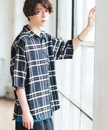 オーバーサイズTRストレッチレギュラーカラーシャツ 半袖ブルー系その他2