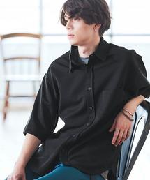 オーバーサイズTRストレッチレギュラーカラーシャツ 半袖ブラック