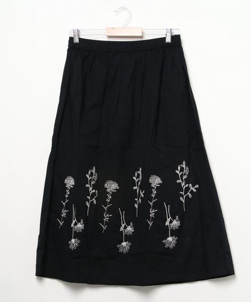 【BARNDOOR/バーンドア】フラワー刺繍ギャザースカート 1142035K BUR
