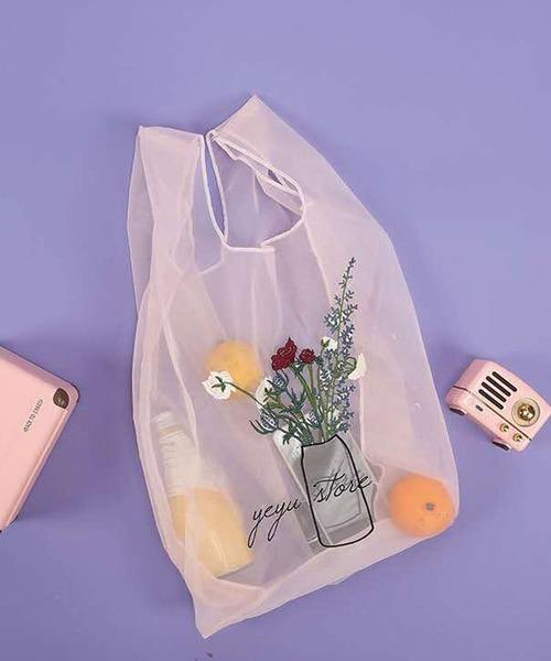 CORNERS(コーナーズ)の「シアーフラワーアレンジエコバッグ(エコバッグ/サブバッグ)」|ピンク