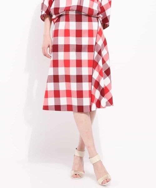 MICHEL KLEIN(ミッシェル・クラン)の「【洗える】【セットアップ対応】ブリジットチェックデザインフレアスカート(スカート)」|レッド