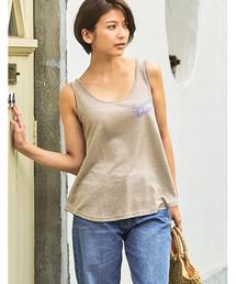 Re:EDIT(リエディ)のリネンブレンドスラブレタリングロゴタンクトップ(Tシャツ/カットソー)