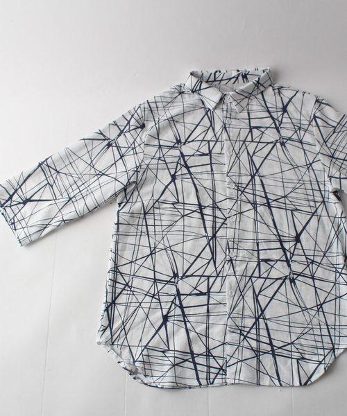 七分袖柄シャツ