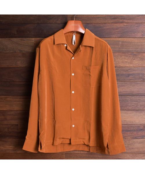 【i】オープンカラ― 長袖シャツ