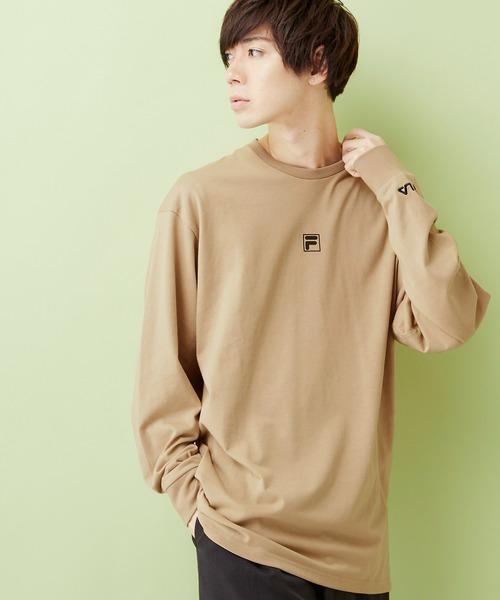 MONO-MART×FILA/フィラ 別注 ロゴプリント 袖ロゴ刺繍 オーバーサイズ L/Sカットソー