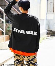 WEB限定 STAR WARS/スター・ウォーズ 別注 バッグロゴプリント ビッグシルエット L/S カットソーブラック