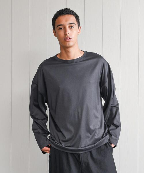 <H>SHINY BOAT NECK PULLOVER/カットソー