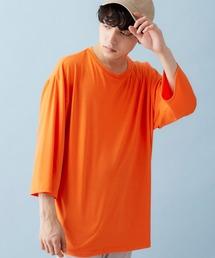 ビッグシルエットドロップショルダー ビッグシルエット とろみカットソー(summer sleeve)オレンジ