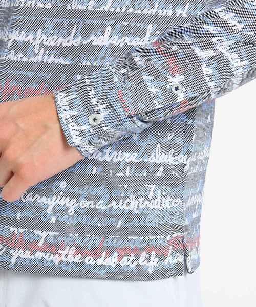 【吸水速乾】アート調ロゴデザイン長袖ポロシャツ メンズ