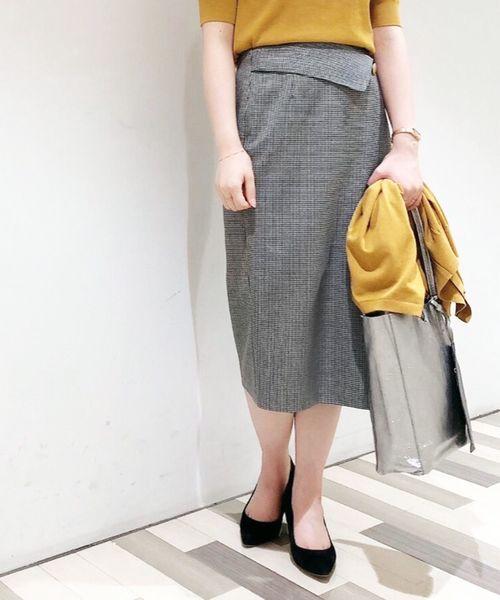 Perle Peche(ペルルペッシュ)の「千鳥ラップ風スカート(スカート)」|カーキオリーブ