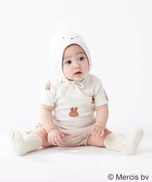 petit main(プティマイン)の【miffy 】 総柄ロンパース×耳つき帽子セット(ロンパース)
