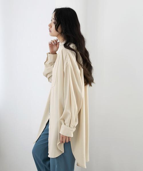 【EMMA】サテンパイピングデザインサイドスリットブザムシャツ/スタンドカラーシャツ