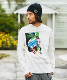 FOR PUNKS プリント ポケ付モックネックTシャツ