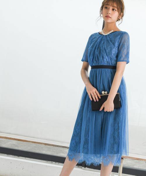 【ブルーWEB限定】チュールレースドレス840155