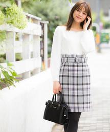 MISCH MASCH(ミッシュマッシュ)のベルト付きチェックタイトスカート(スカート)